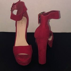 Qupid Suede Red open Toe
